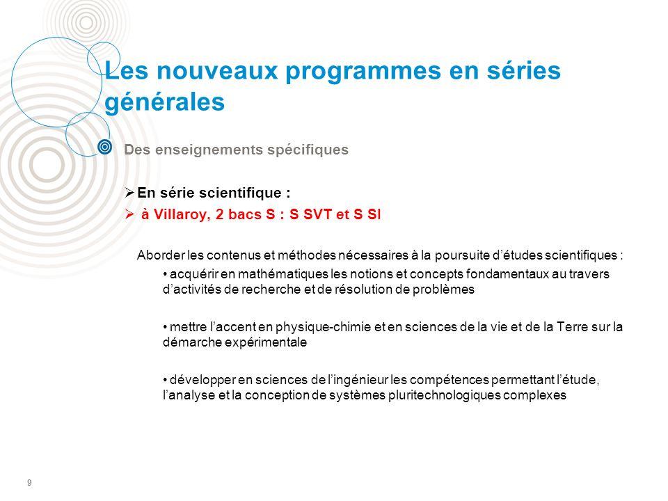 9 Les nouveaux programmes en séries générales Des enseignements spécifiques En série scientifique : à Villaroy, 2 bacs S : S SVT et S SI Aborder les c