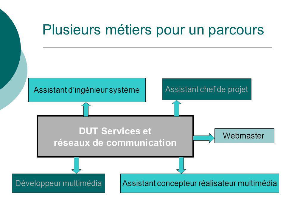 Plusieurs métiers pour un parcours DUT Services et réseaux de communication Assistant dingénieur système Webmaster Assistant chef de projet Assistant