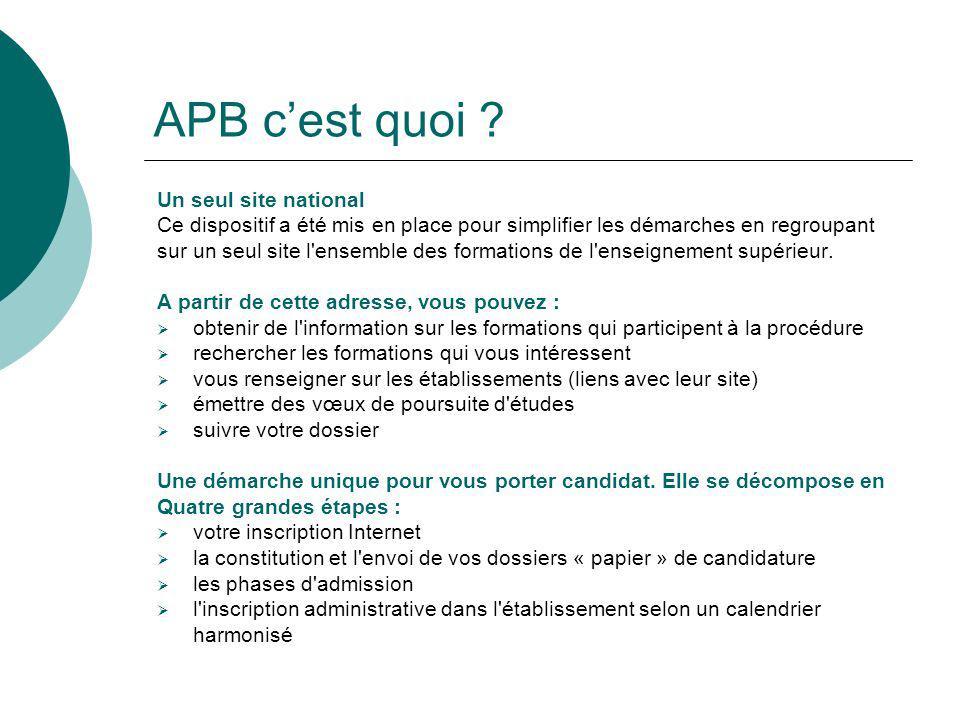 APB cest quoi ? Un seul site national Ce dispositif a été mis en place pour simplifier les démarches en regroupant sur un seul site l'ensemble des for