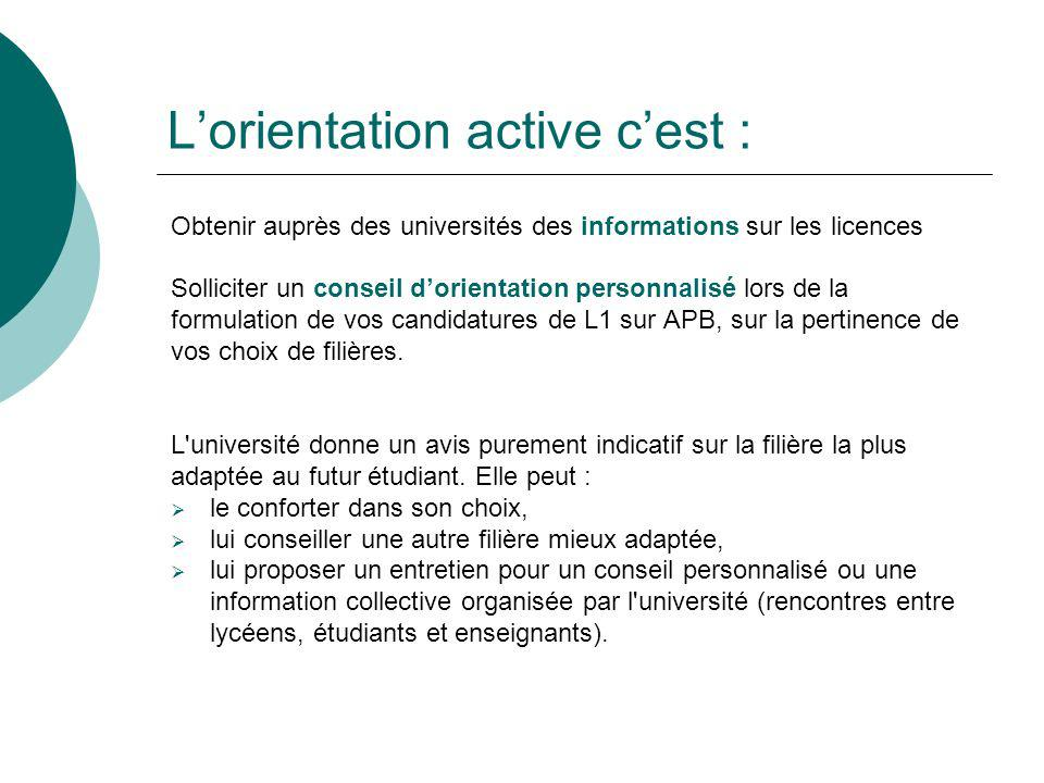 Lorientation active cest : Obtenir auprès des universités des informations sur les licences Solliciter un conseil dorientation personnalisé lors de la