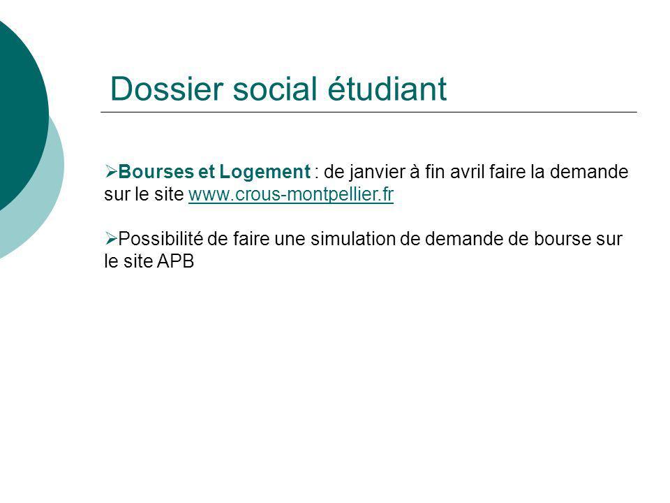 Dossier social étudiant Bourses et Logement : de janvier à fin avril faire la demande sur le site www.crous-montpellier.frwww.crous-montpellier.fr Pos