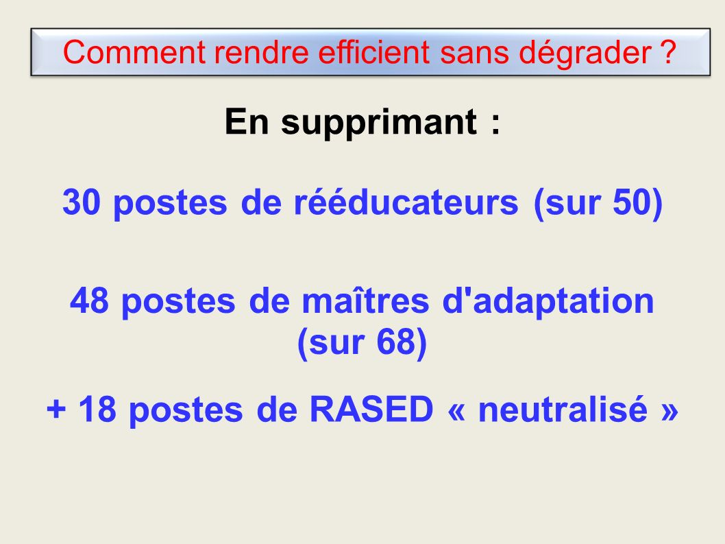 Comment rendre efficient sans dégrader .