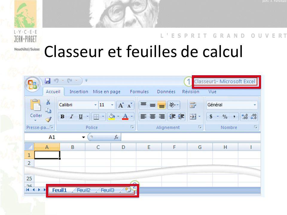 Et maintenant, à vous de « jouer » Prenez votre polycopié à la page 22 Exercice 01 : Mon horaire Objectifs: – Introduire des données brutes, puis reproduire le modèle proposé – Se familiariser avec les différents outils – Se déplacer dans la feuille de calcul – Imprimer le document avec en-tête et pied de page