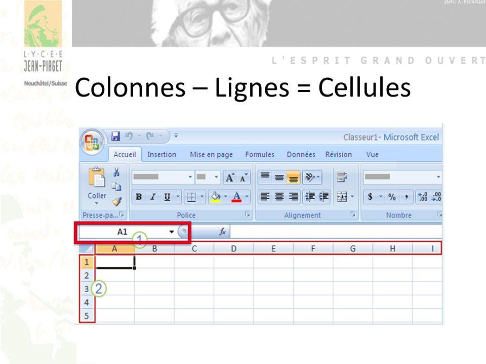 Colonnes – Lignes = Cellules