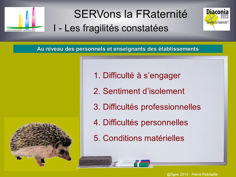 SERVons la FRaternité I - Les fragilités constatées @Sgec 2012 - Pierre Robitaille 1Familles Familles éclatées, recomposées, monoparentales Autres 2Fr