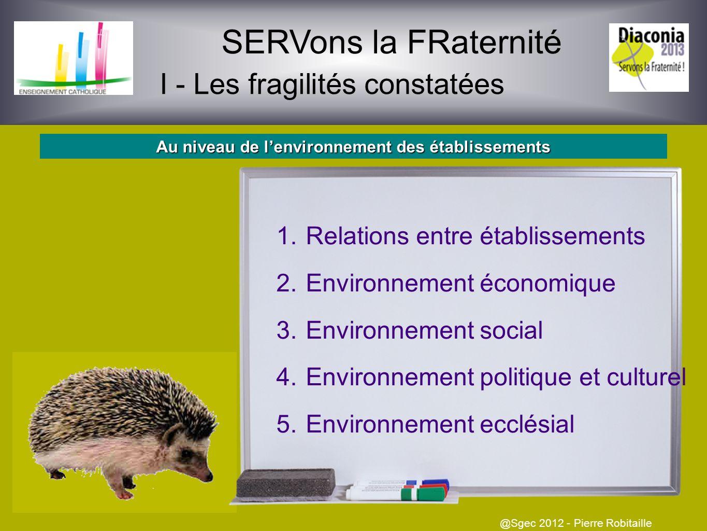 SERVons la FRaternité I - Les fragilités constatées @Sgec 2012 - Pierre Robitaille Au niveau des personnels et enseignants des établissements 1.Diffic