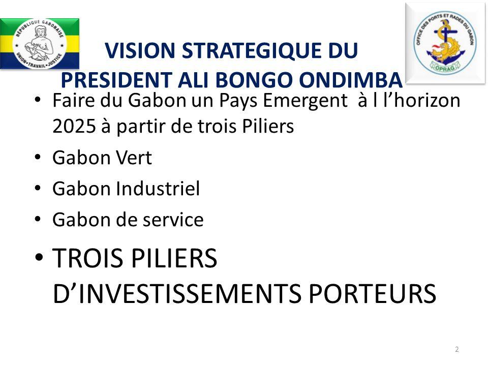 Forte ambition du Président Ali BONGO ONDIMBA de faire du Gabon un pays émergent ; Excellente situation géographique (le Gabon est situé à mi distance de lAfrique du Nord et du Sud et sur lOcéan Atlantique, principale route maritime des grands navires) ; Important trafic potentiel des pays voisins ; Climat exceptionnel pour le développement des affaires dû à lextraordinaire stabilité politique dont jouit le Gabon depuis plusieurs décennies ; Immenses potentialités économiques dont regorge le pays ; Hospitalité légendaire de sa population.