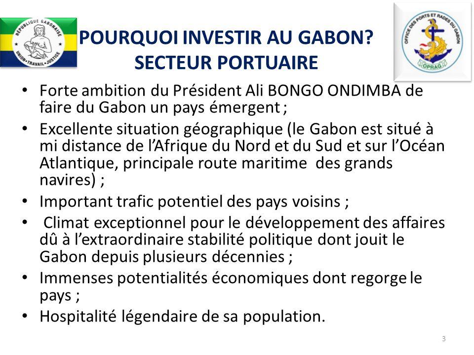 Forte ambition du Président Ali BONGO ONDIMBA de faire du Gabon un pays émergent ; Excellente situation géographique (le Gabon est situé à mi distance