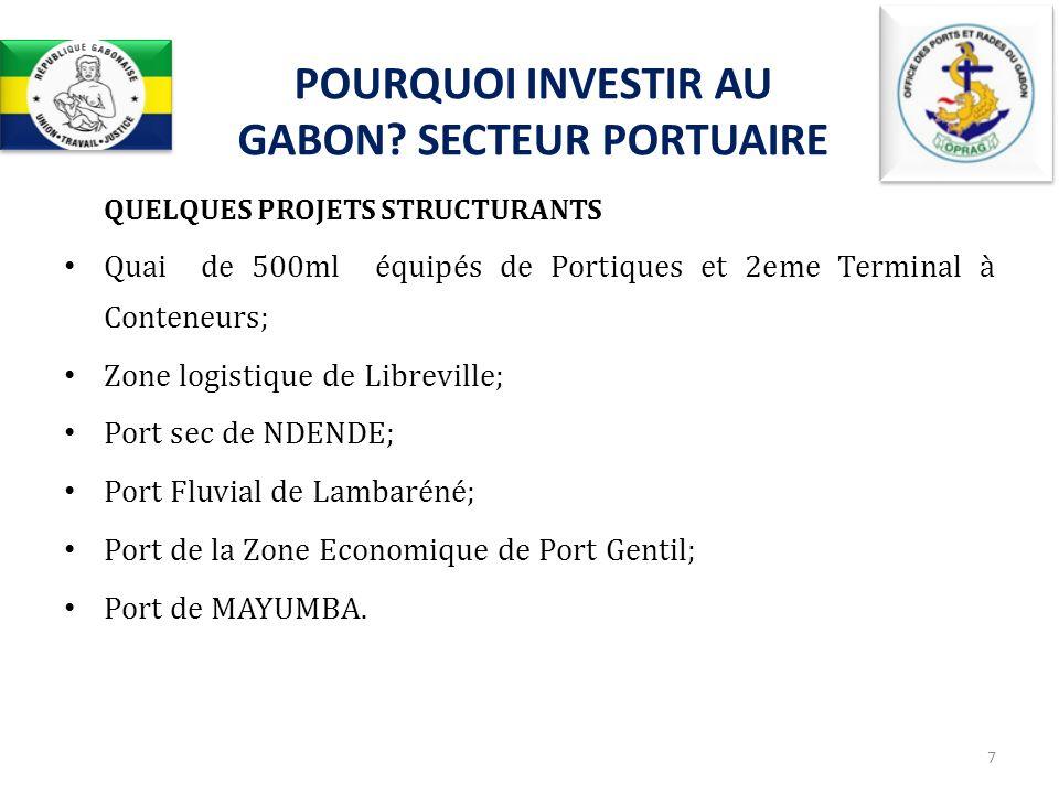 QUELQUES PROJETS STRUCTURANTS Quai de 500ml équipés de Portiques et 2eme Terminal à Conteneurs; Zone logistique de Libreville; Port sec de NDENDE; Por