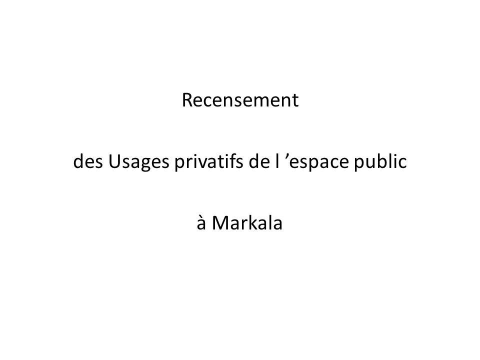 Recensement des Usages privatifs de l espace public à Markala