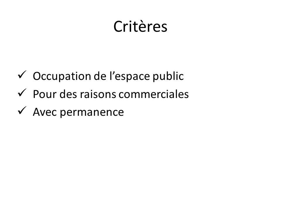 Critères Occupation de lespace public Pour des raisons commerciales Avec permanence