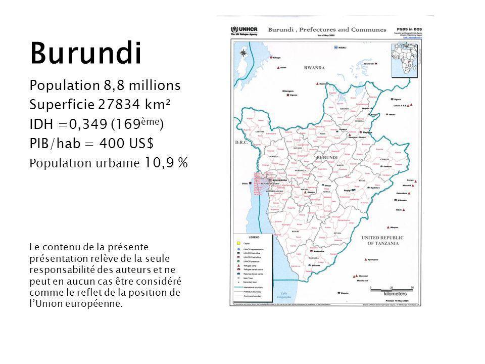 Population 8,8 millions Superficie 27834 km² IDH =0,349 (169 ème ) PIB/hab = 400 US$ Population urbaine 10,9 % Le contenu de la présente présentation relève de la seule responsabilité des auteurs et ne peut en aucun cas être considéré comme le reflet de la position de lUnion européenne.