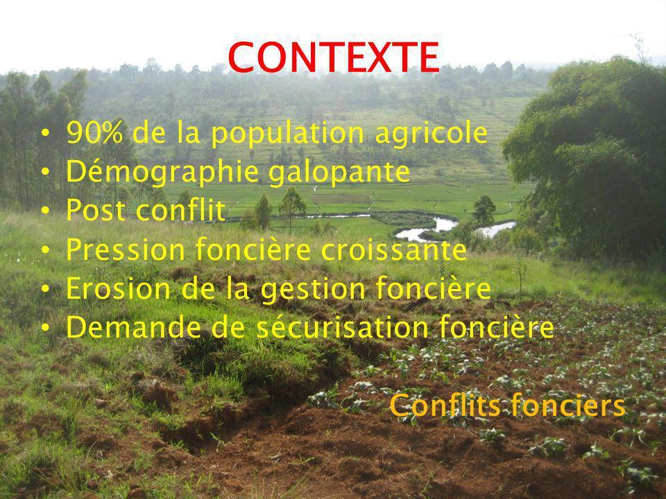 CONTEXTE 90% de la population agricole Démographie galopante Post conflit Pression foncière croissante Erosion de la gestion foncière Demande de sécurisation foncière Conflits fonciers