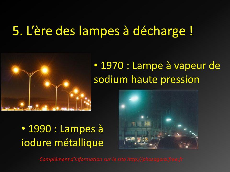 5. Lère des lampes à décharge ! 1970 : Lampe à vapeur de sodium haute pression 1990 : Lampes à iodure métallique Complément dinformation sur le site h
