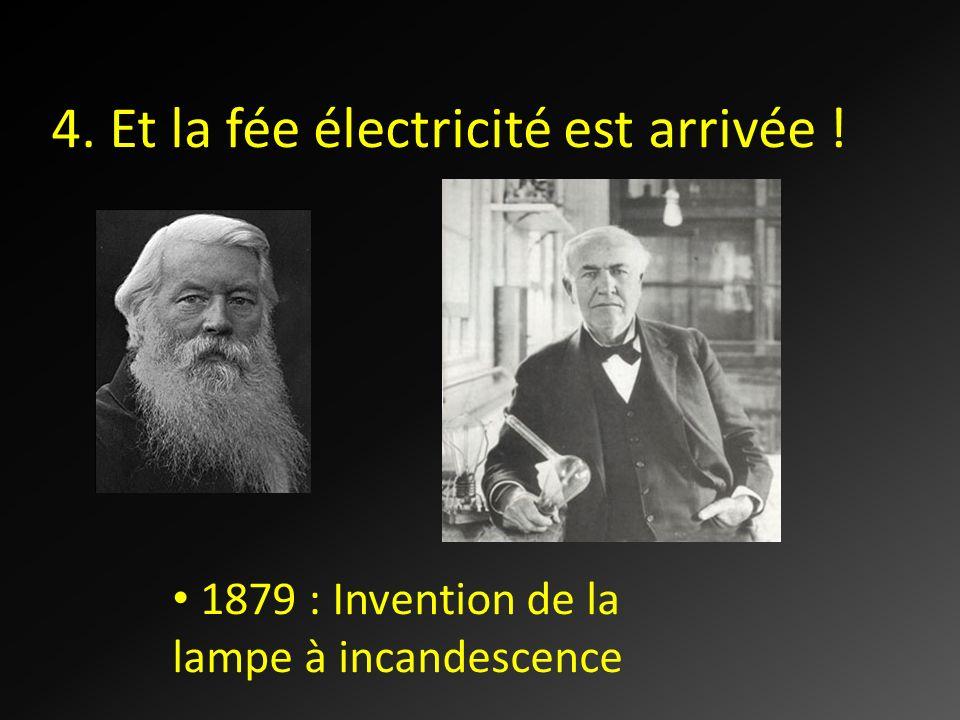 4. Et la fée électricité est arrivée ! 1879 : Invention de la lampe à incandescence