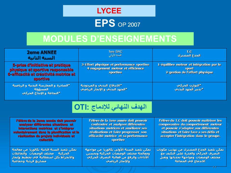17 LYCEE EPS OP 2007 MODULES DENSEIGNEMENTS T.C الجدع المشترك 1ere BAC السنة الأولي 2eme ANNEE السنة الثانية 1-équilibre moteur et intégration par le