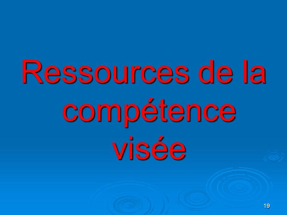 19 Ressources de la compétence visée
