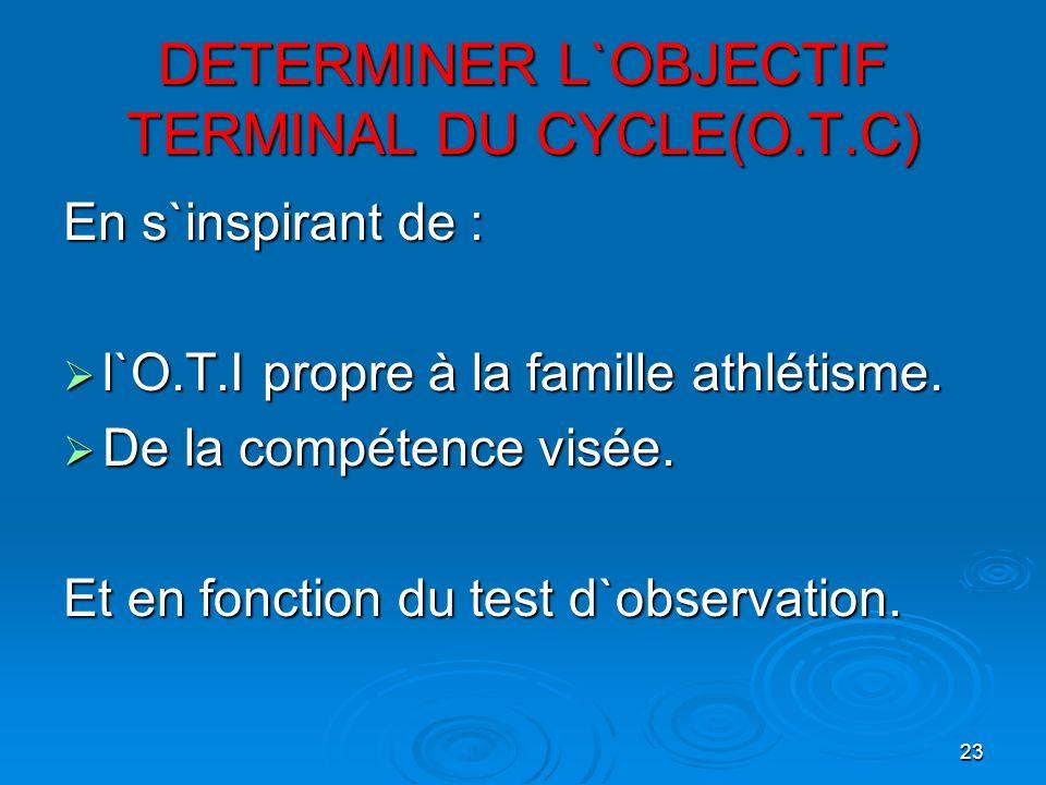 23 DETERMINER L`OBJECTIF TERMINAL DU CYCLE(O.T.C) En s`inspirant de : l`O.T.I propre à la famille athlétisme. l`O.T.I propre à la famille athlétisme.