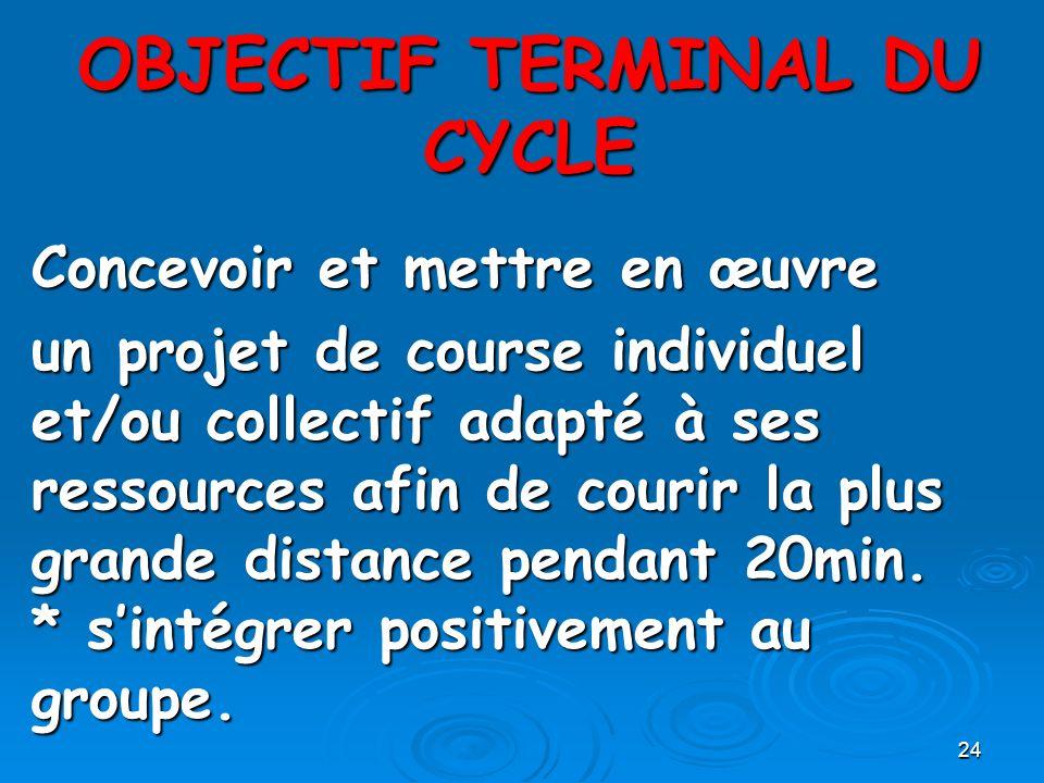 24 OBJECTIF TERMINAL DU CYCLE Concevoir et mettre en œuvre un projet de course individuel et/ou collectif adapté à ses ressources afin de courir la pl