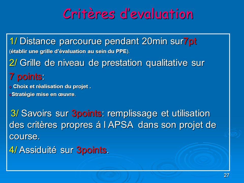 27 Critères devaluation 1/ Distance parcourue pendant 20min sur7pt (établir une grille dévaluation au sein du PPE). 2/ Grille de niveau de prestation