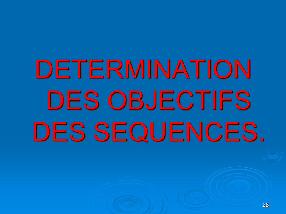 28 DETERMINATION DES OBJECTIFS DES SEQUENCES.