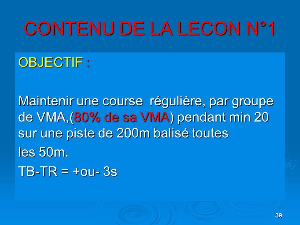 39 CONTENU DE LA LECON N°1 OBJECTIF : Maintenir une course régulière, par groupe de VMA,(80% de sa VMA) pendant min 20 sur une piste de 200m balisé to