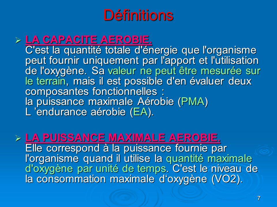 7 Définitions LA CAPACITE AEROBIE. C'est la quantité totale d'énergie que l'organisme peut fournir uniquement par l'apport et l'utilisation de l'oxygè