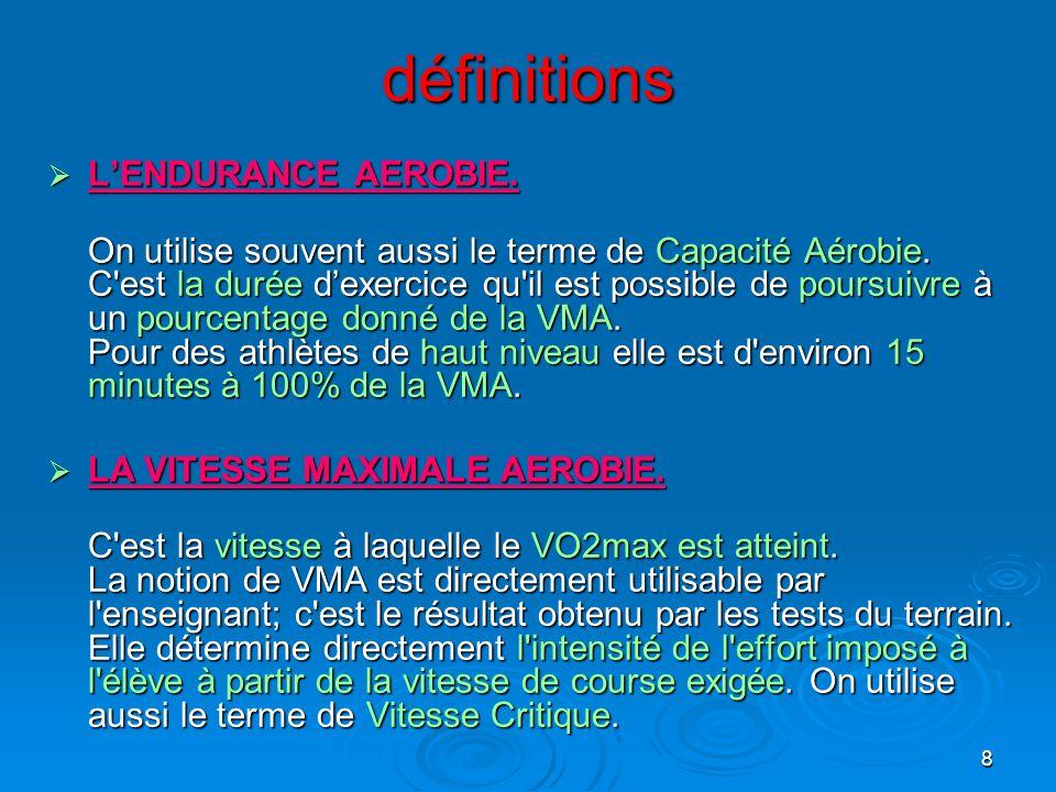 8 définitions LENDURANCE AEROBIE. LENDURANCE AEROBIE. On utilise souvent aussi le terme de Capacité Aérobie. C'est la durée dexercice qu'il est possib