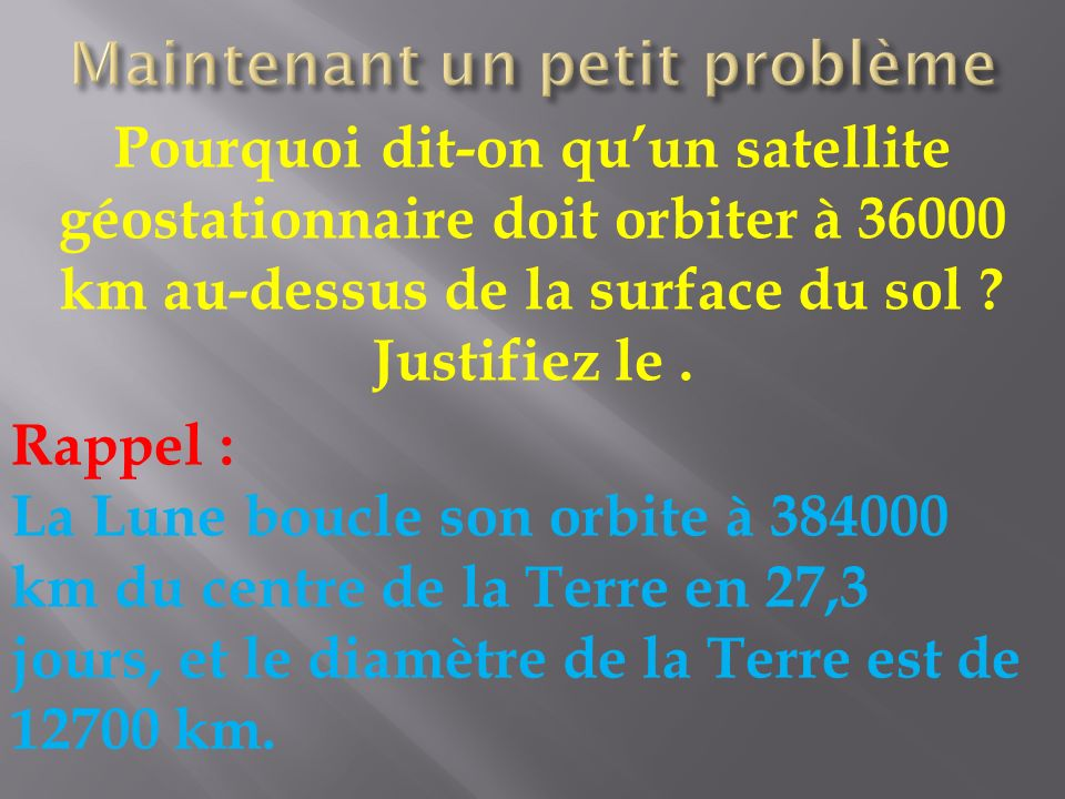 Pourquoi dit-on quun satellite géostationnaire doit orbiter à 36000 km au-dessus de la surface du sol ? Justifiez le. Rappel : La Lune boucle son orbi