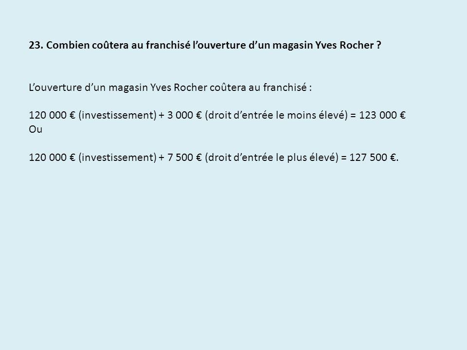 23. Combien coûtera au franchisé louverture dun magasin Yves Rocher ? Louverture dun magasin Yves Rocher coûtera au franchisé : 120 000 (investissemen