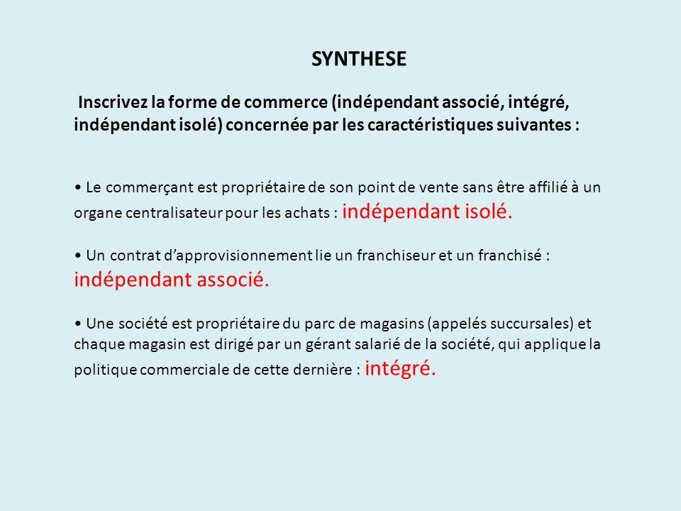 Inscrivez la forme de commerce (indépendant associé, intégré, indépendant isolé) concernée par les caractéristiques suivantes : Le commerçant est prop