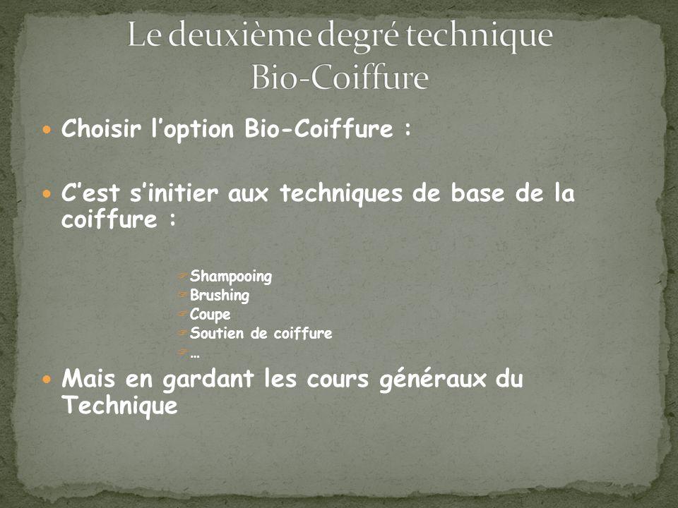Choisir loption Bio-Coiffure : Cest sinitier aux techniques de base de la coiffure : Shampooing Brushing Coupe Soutien de coiffure … Mais en gardant les cours généraux du Technique
