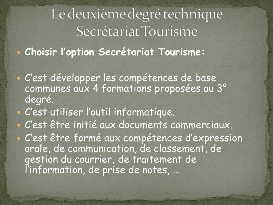 Choisir loption Secrétariat Tourisme: Cest développer les compétences de base communes aux 4 formations proposées au 3° degré.
