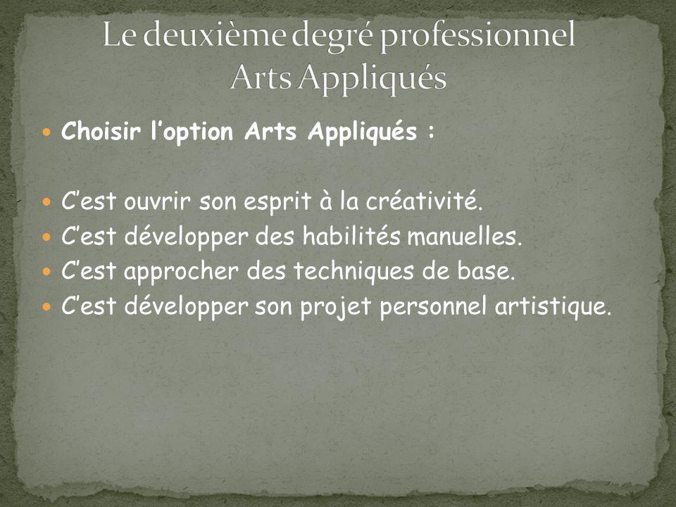 Choisir loption Arts Appliqués : Cest ouvrir son esprit à la créativité.