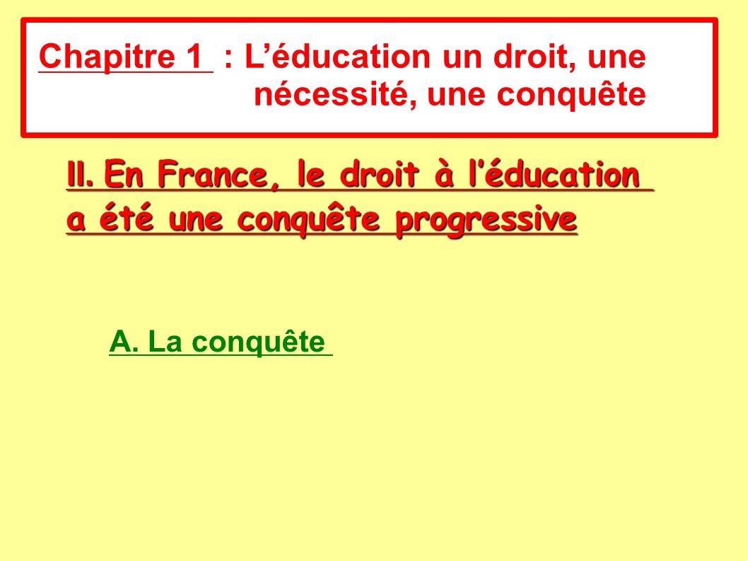 A. La conquête II. En France, le droit à léducation a été une conquête progressive Chapitre 1 : Léducation un droit, une nécessité, une conquête