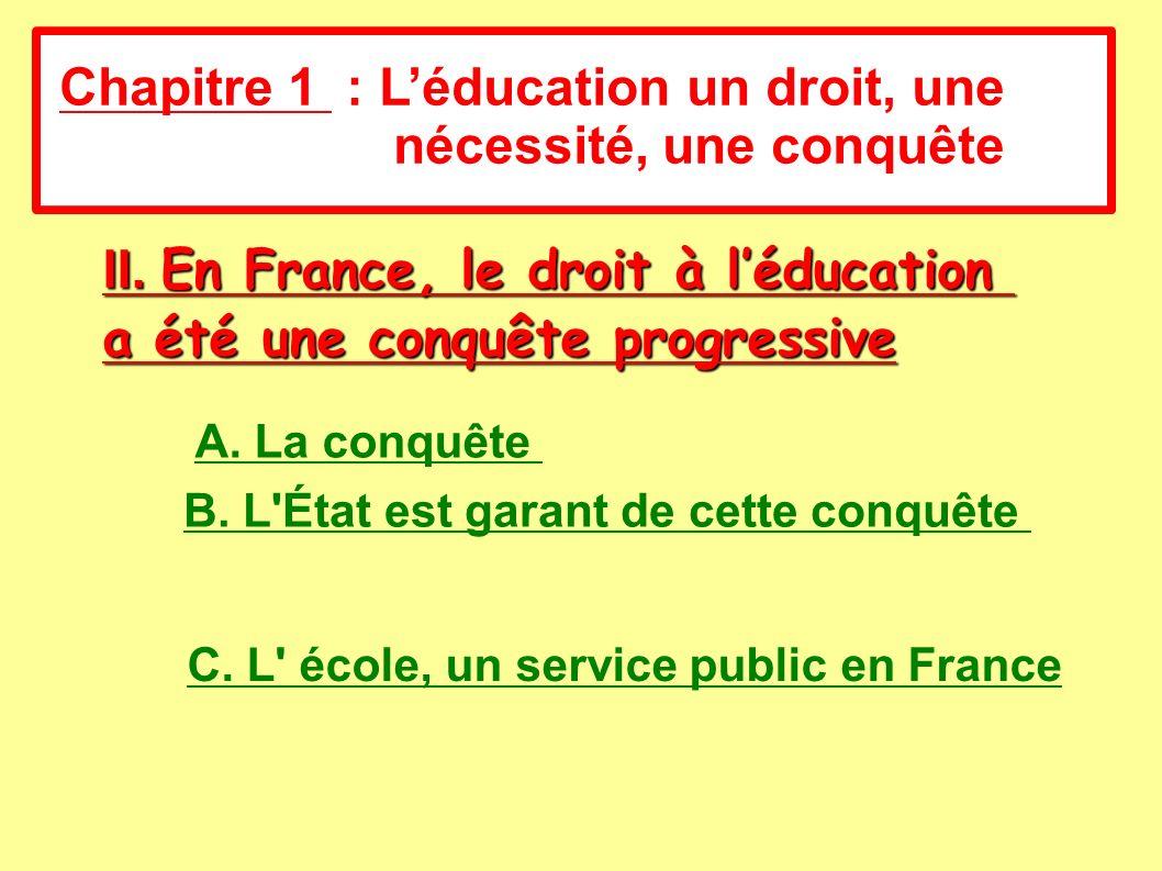 A. La conquête II. En France, le droit à léducation a été une conquête progressive Chapitre 1 : Léducation un droit, une nécessité, une conquête B. L'