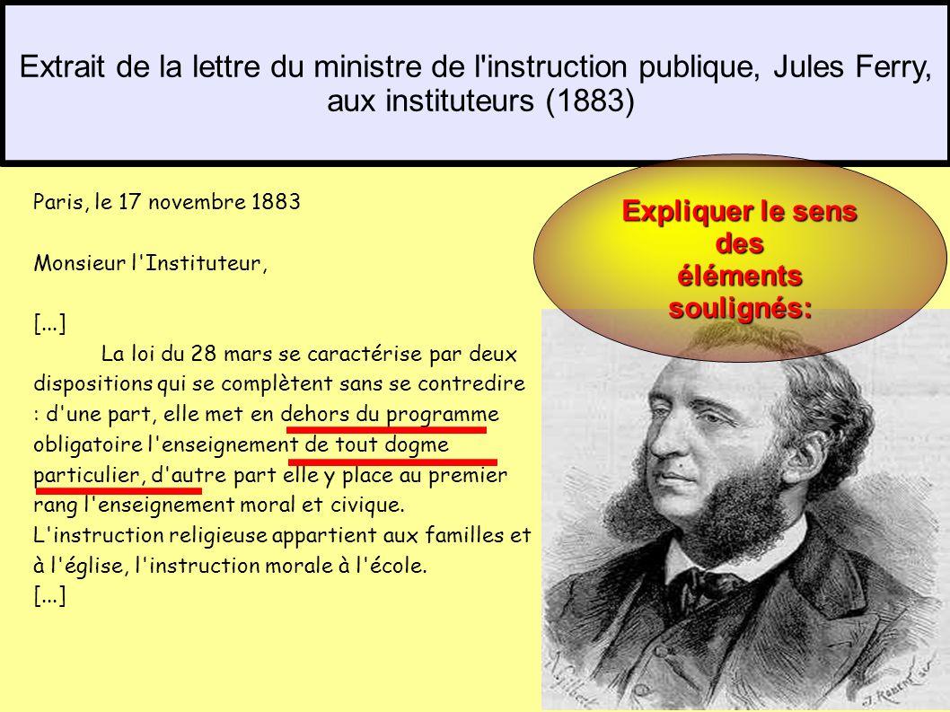 Paris, le 17 novembre 1883 Monsieur l'Instituteur, [...] La loi du 28 mars se caractérise par deux dispositions qui se complètent sans se contredire :