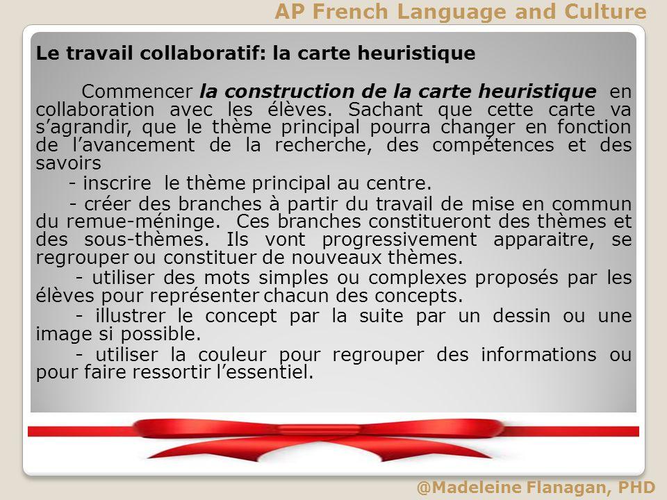 Le travail collaboratif: la carte heuristique Commencer la construction de la carte heuristique en collaboration avec les élèves. Sachant que cette ca