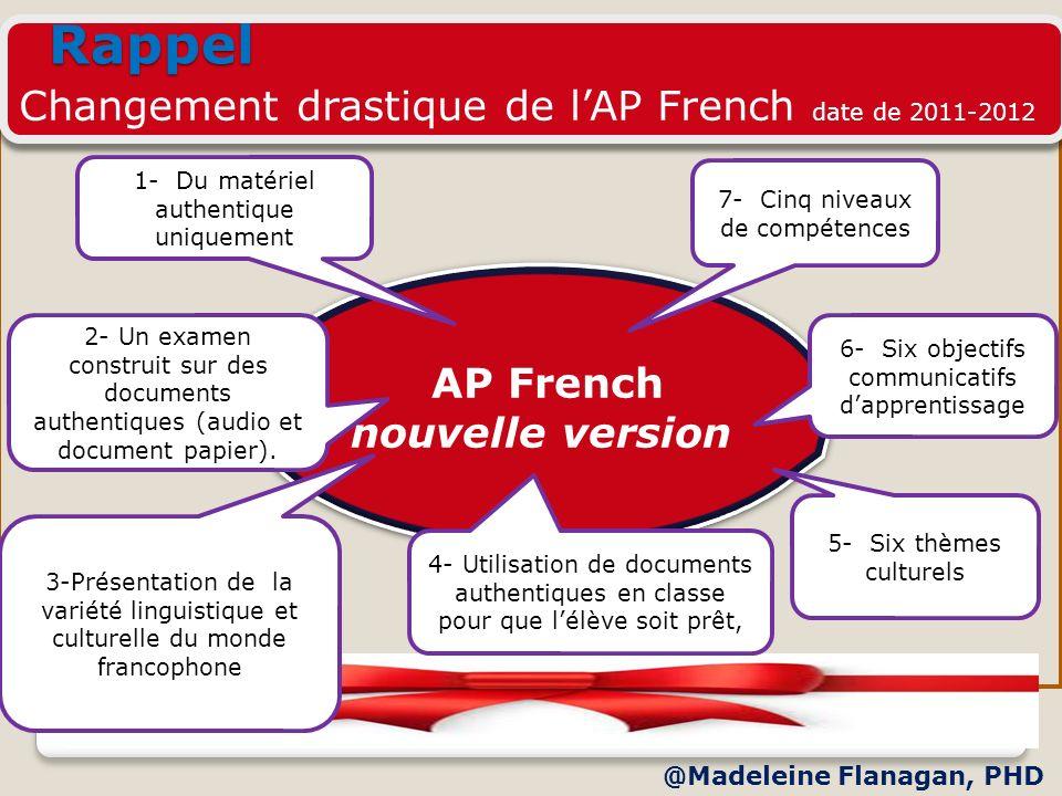 U AP French nouvelle version 1- Du matériel authentique uniquement 5- Six thèmes culturels 6- Six objectifs communicatifs dapprentissage 7- Cinq nivea