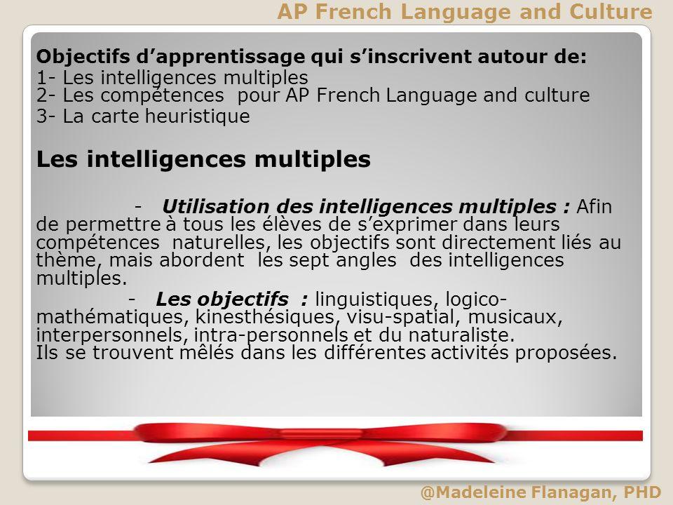 Objectifs dapprentissage qui sinscrivent autour de: 1- Les intelligences multiples 2- Les compétences pour AP French Language and culture 3- La carte