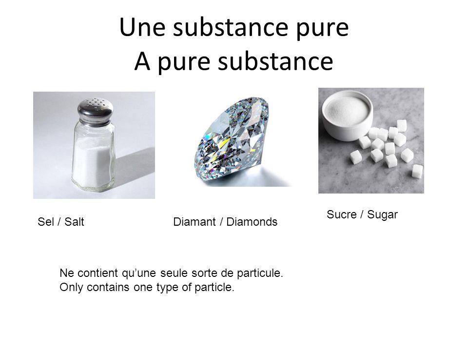 Une substance pure A pure substance Sel / SaltDiamant / Diamonds Sucre / Sugar Ne contient quune seule sorte de particule.
