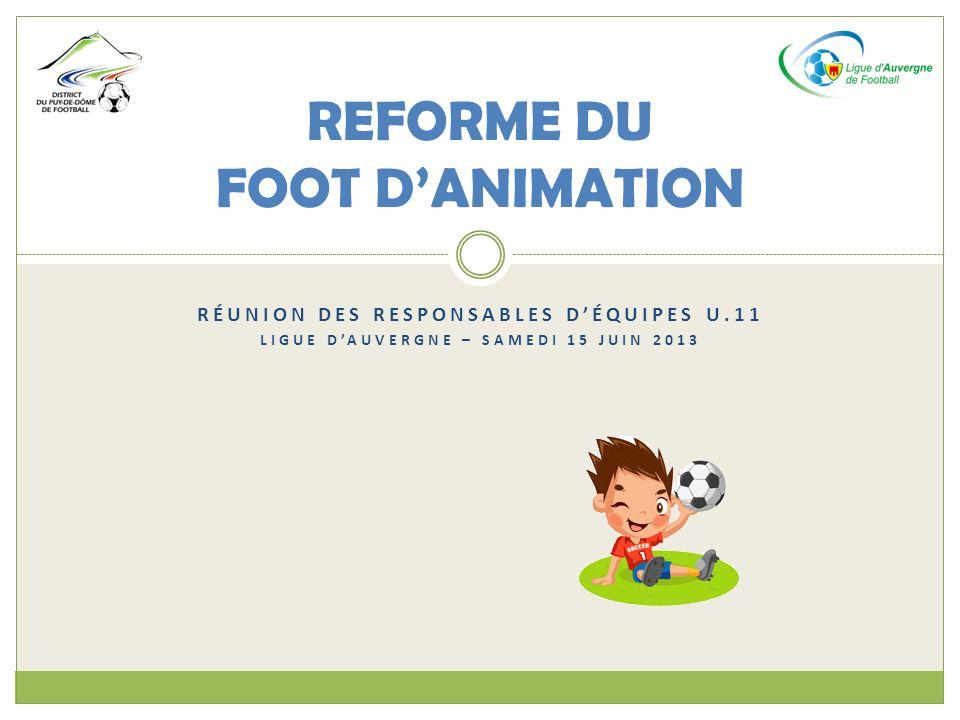 RÉUNION DES RESPONSABLES DÉQUIPES U.11 LIGUE DAUVERGNE – SAMEDI 15 JUIN 2013 REFORME DU FOOT DANIMATION