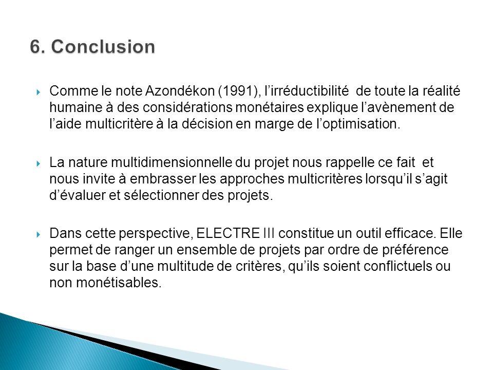 Comme le note Azondékon (1991), lirréductibilité de toute la réalité humaine à des considérations monétaires explique lavènement de laide multicritère