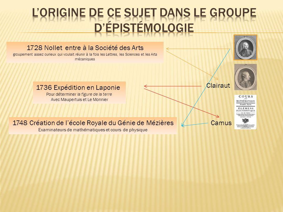 1728 Nollet entre à la Société des Arts groupement assez curieux qui voulait réunir à la fois les Lettres, les Sciences et les Arts mécaniques Clairau