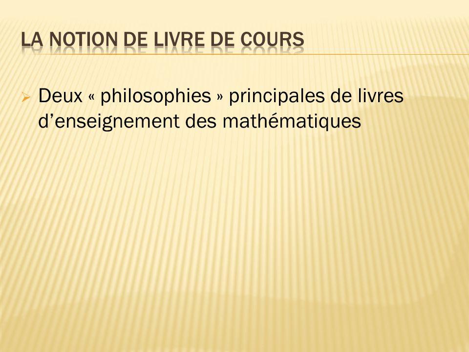 Deux « philosophies » principales de livres denseignement des mathématiques