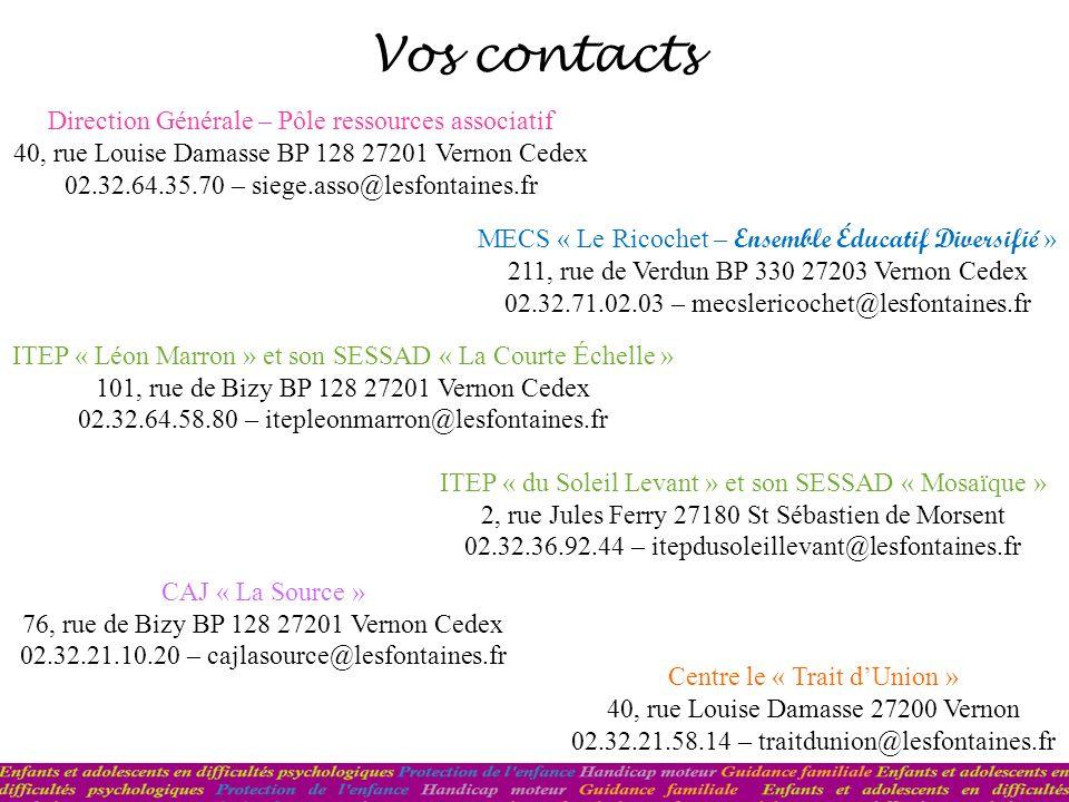 Vos contacts Direction Générale – Pôle ressources associatif 40, rue Louise Damasse BP 128 27201 Vernon Cedex 02.32.64.35.70 – siege.asso@lesfontaines