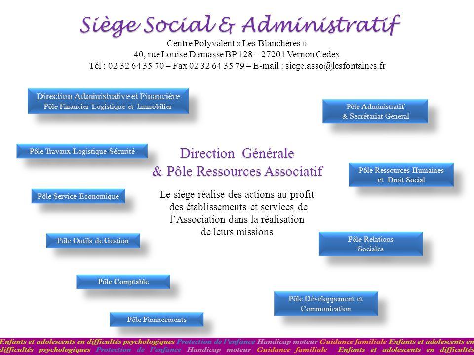 Pôle Comptable Pôle Comptable Direction Générale & Pôle Ressources Associatif Siège Social & Administratif Le siège réalise des actions au profit des
