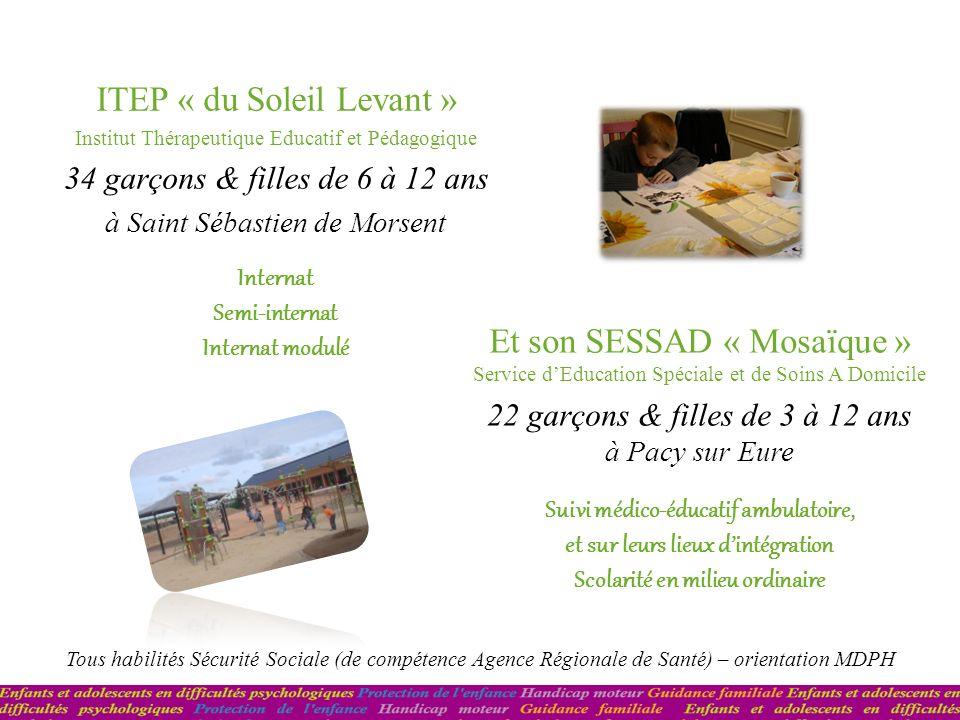 ITEP « du Soleil Levant » Institut Thérapeutique Educatif et Pédagogique 34 garçons & filles de 6 à 12 ans à Saint Sébastien de Morsent Et son SESSAD