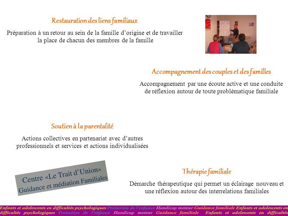 Soutien à la parentalité Actions collectives en partenariat avec dautres professionnels et services et actions individualisées Restauration des liens