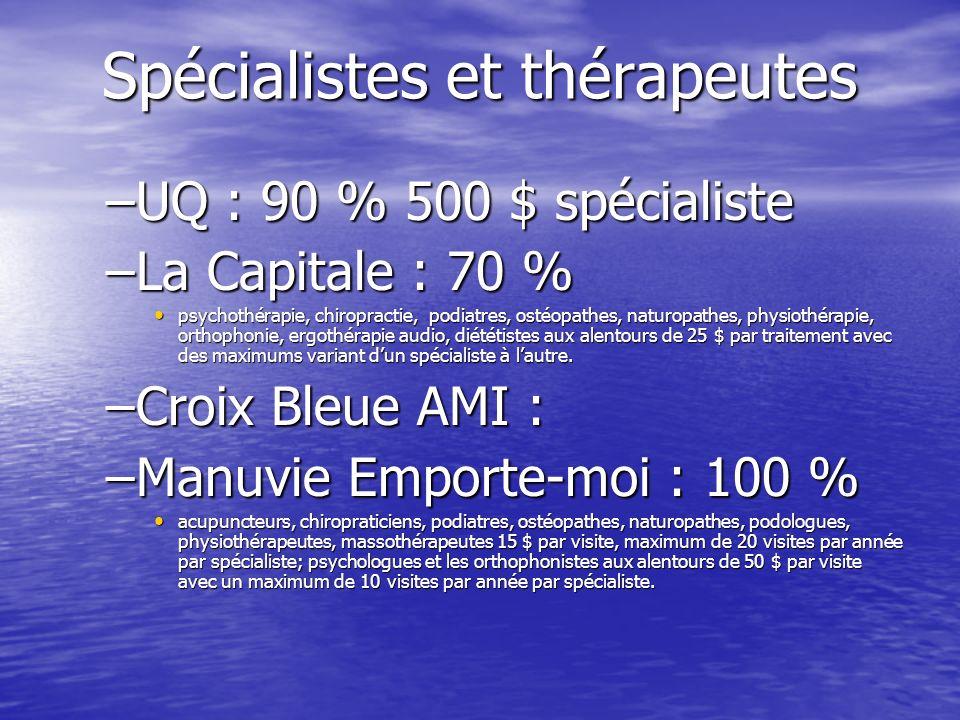 Spécialistes et thérapeutes –UQ : 90 % 500 $ spécialiste –La Capitale : 70 % psychothérapie, chiropractie, podiatres, ostéopathes, naturopathes, physiothérapie, orthophonie, ergothérapie audio, diététistes aux alentours de 25 $ par traitement avec des maximums variant dun spécialiste à lautre.